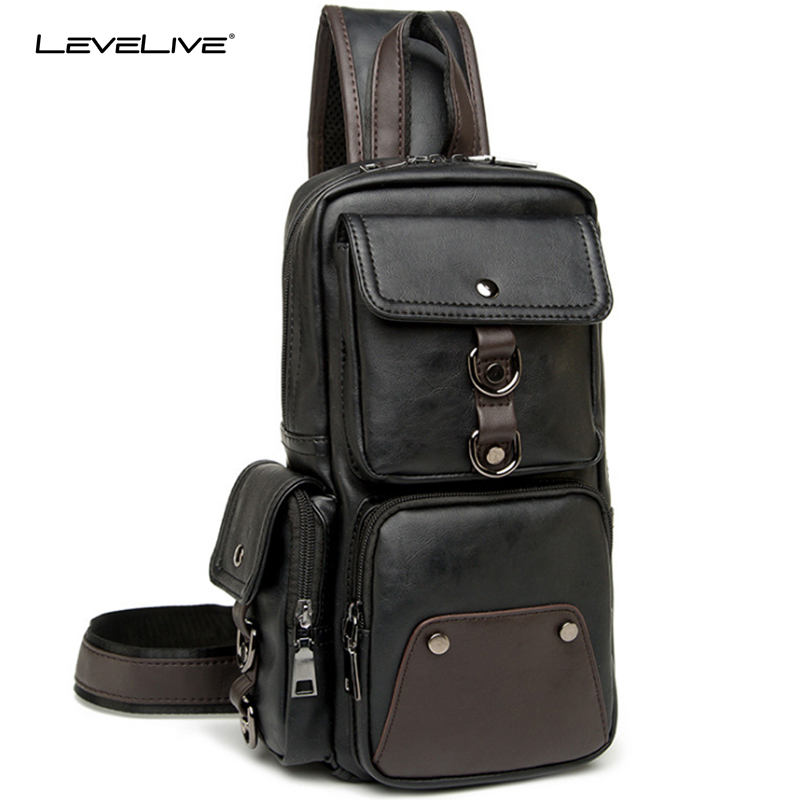 LeveLive Men's Multifunctional Sling Chest Pack Casual Male Leather Chest Bag Back Men Travel Shoulder Messenger Crossbody Bag translucent 12v 10w dc water flow generator turbine generator hydroelectric micro hydro generator tap water flow hydraulic diy