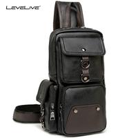 LeveLive Men's Multifunctional Sling Chest Pack Casual Male Leather Chest   Bag   Back Men Travel Shoulder Messenger Crossbody   Bag