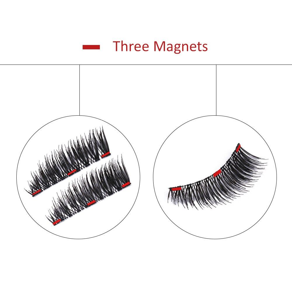 BONNIE CHOICE 2Pcs 1 Pair Magnetic False Eyelashes 3 Magnets Handmade Triple Magnet Natural Long Fake Eye Lash Extension Tool in False Eyelashes from Beauty Health