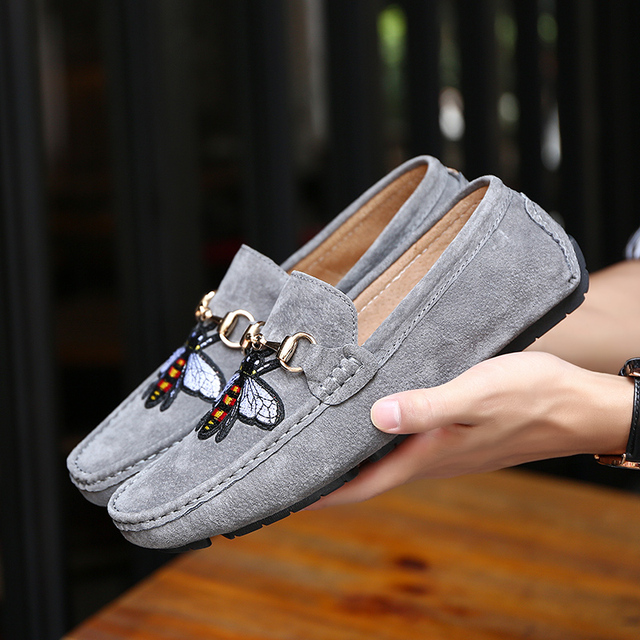89aa571b22d Original Moccasins Gommino Leather Driver With Sylvie Web Buckle Loafer  Slipper Men Flat Casual Driving Bee Outdoor Luxury Shoes