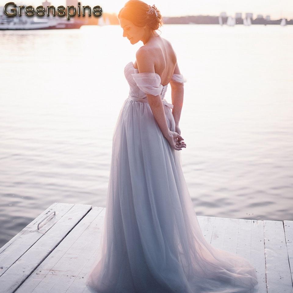 6ca535b25abd3 Dusty Blue Beach Wedding Dress Off the Shoulder 2019 Vestido de novia  Vintage Bridal Gown Wedding Dresses with Detachable Sash