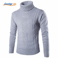 Covrlge 2017 Male Sweater Pullover Slim Warm Solid High Lapel Jacquard Hedging British Men S Clothing