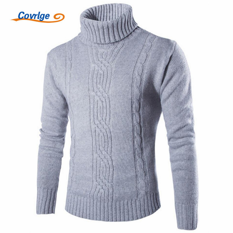 Covrlge 2017 Male Sweater Pullover Slim Warm Solid High Lapel Jacquard Hedging British Men's Clothing Mens Turtleneck Mzm030