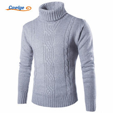 Covrlge 2017 Male Sweater Pullover Slim Warm Solid High Lapel Jacquard Hedging British font b Men