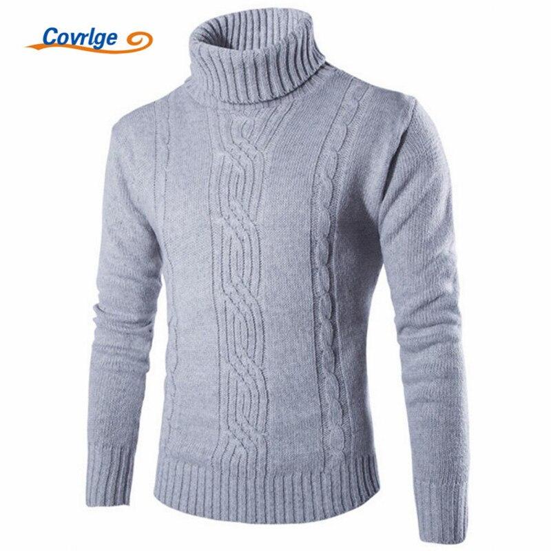 Covrlge 2017 hombre suéter Slim caliente sólido de Jacquard de cobertura de los hombres británicos de hombre, ropa de cuello alto MZM030