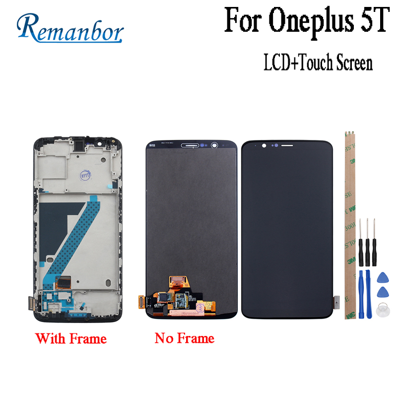 Remanbor For Oneplus 5T LCD Display and Touch Screen With Fram 6.01 Assembly Repair Parts For Oneplus 5T With Tools +AdhesiveRemanbor For Oneplus 5T LCD Display and Touch Screen With Fram 6.01 Assembly Repair Parts For Oneplus 5T With Tools +Adhesive