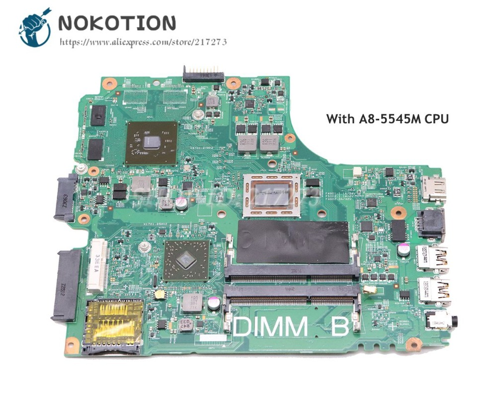 NOKOTION For Dell inspiron M431R 5435 Laptop Motherboard PWB F77G4 REV A00 CN-0616FF 0616FF A8-5545M CPU DDR3 ноутбук dell m531 m531r 1828 a8 m431 5435 2g