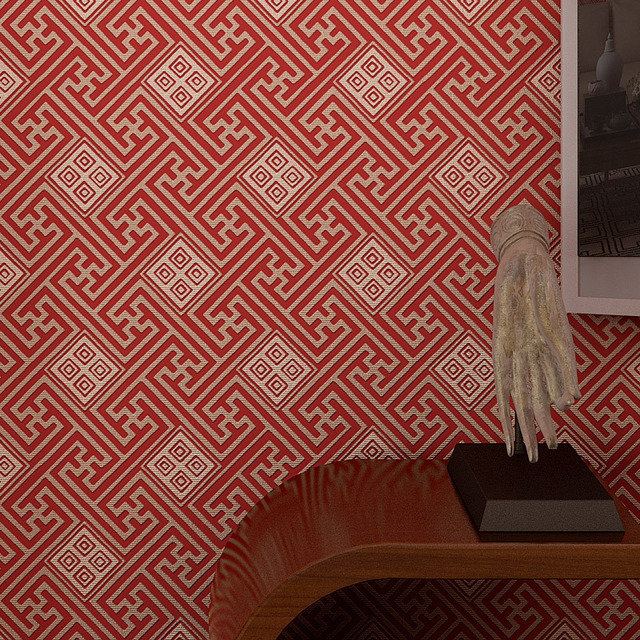 Chinese Wallpaper Wall Coverings Red And Grey Non Woven Tartan Office Home Decor