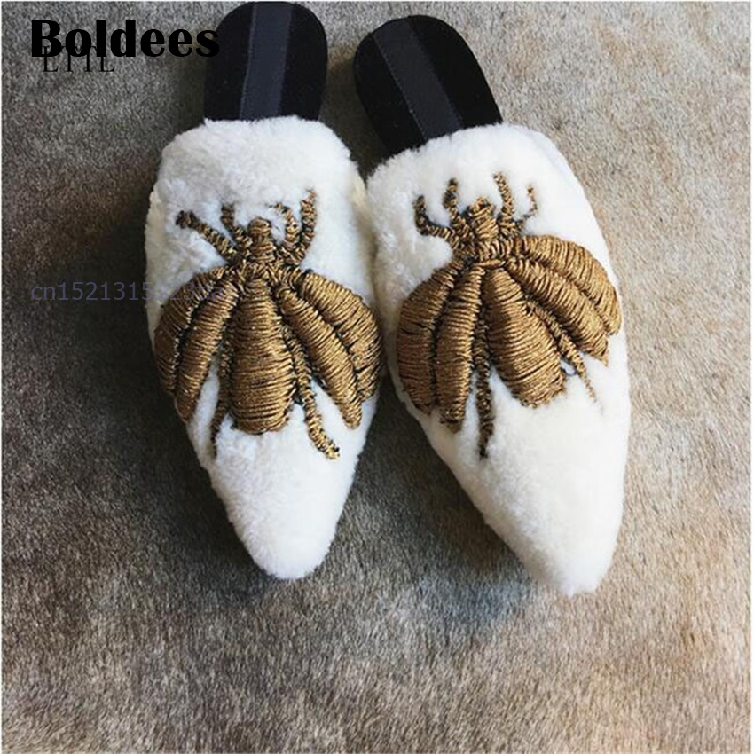 Bee Embroidered Fur Slippers Women Pointed Toe Spider Flat Shoes Woman Newest Fashion Warm Wool Muller Shoes Loafers flat fur women slippers 2017 fashion leisure open toe women indoor slippers fur high quality soft plush lady furry slippers