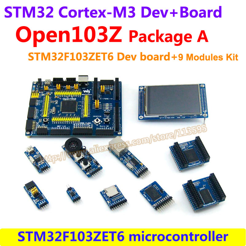 STM32 Board ARM Cortex-M3 STM32F103ZET6 STM32F103 STM32 Development Board(72MHz)+9 Accessory Module Kits = Open103Z Package A fireduino pc combine stem education scratch graphic program iot development board pcduino wifi module arm cortex m3 demo