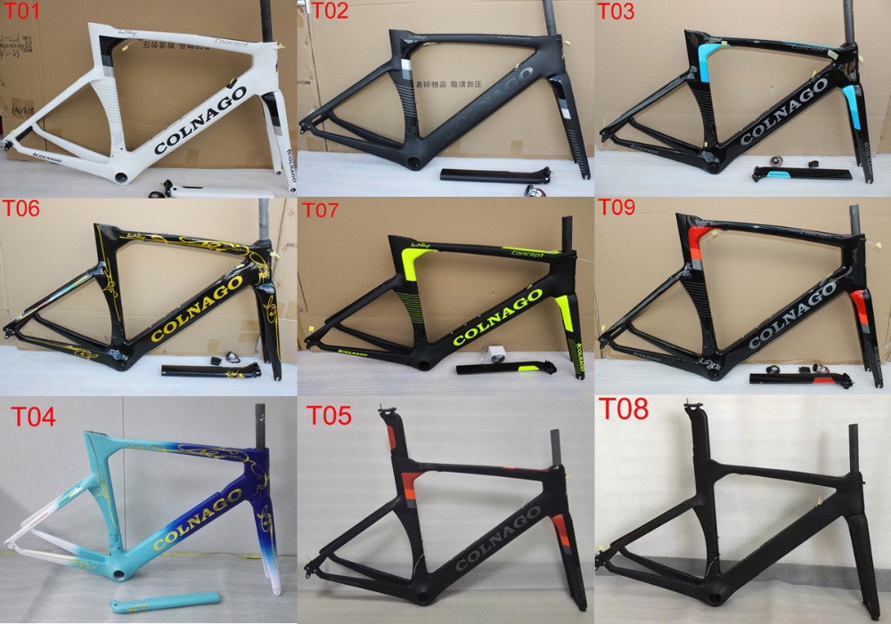9 color Colnago concept carbon road frame full carbon fiber 3k glossy matte finish carbon bicycle