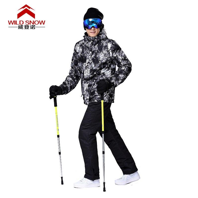 2017 hommes Snowboard veste Ski costume imperméable coupe-vent veste de Ski + pantalon Ski neige veste épaissir chaud vêtements pantalon ensemble