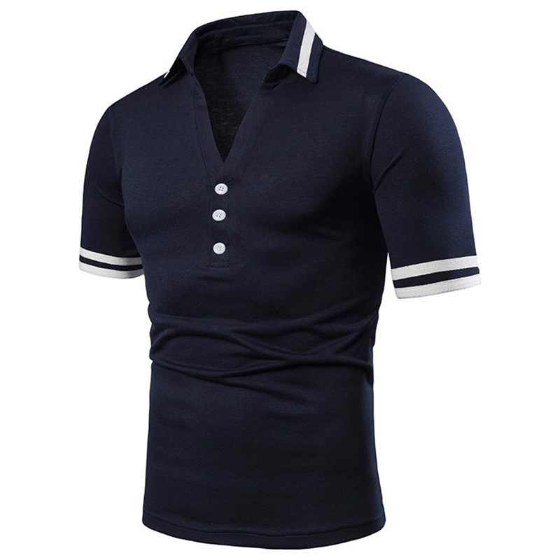 2019 男性ファッションポロシャツターンダウンデザインセクシーなディープ V ネックポロシャツ無地ボタン男性夏半袖トップス