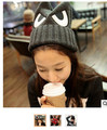 50pcs fedex fashion knitted winter hats for women Warm Cap lovely cat eyes ears embroidered knit wool hat devil horns beanies