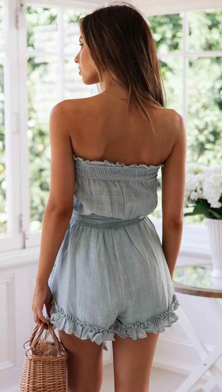 Vadim limitada sexy bodysuit macacão feminino novo frete grátis 2020 algodão e linho babados envolto cintas no peito feminino