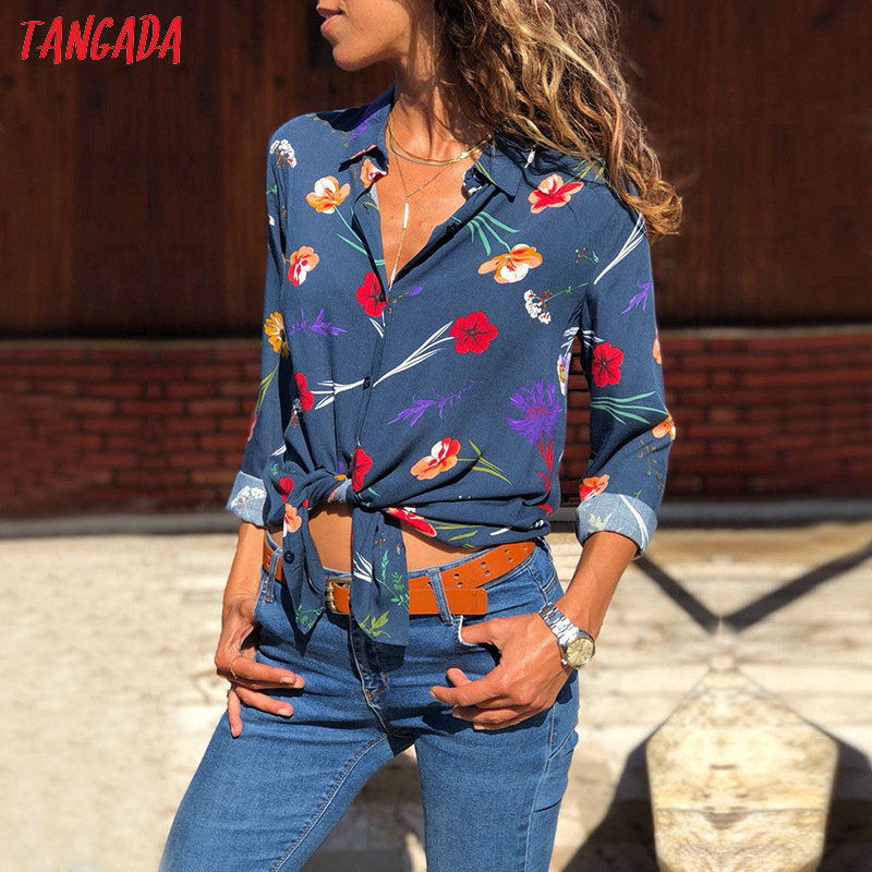 Tangada women flower shirt large sizes autumn 2018 vintage print shirt feminina korean fashion top female womens clothing aon049 3
