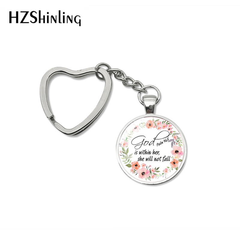 2019 Fashion Bible Quote Keychain God Is Within Her , She Is Not Fall Verse Christian Jewelry Bag Car Holder Keyring Gifts image