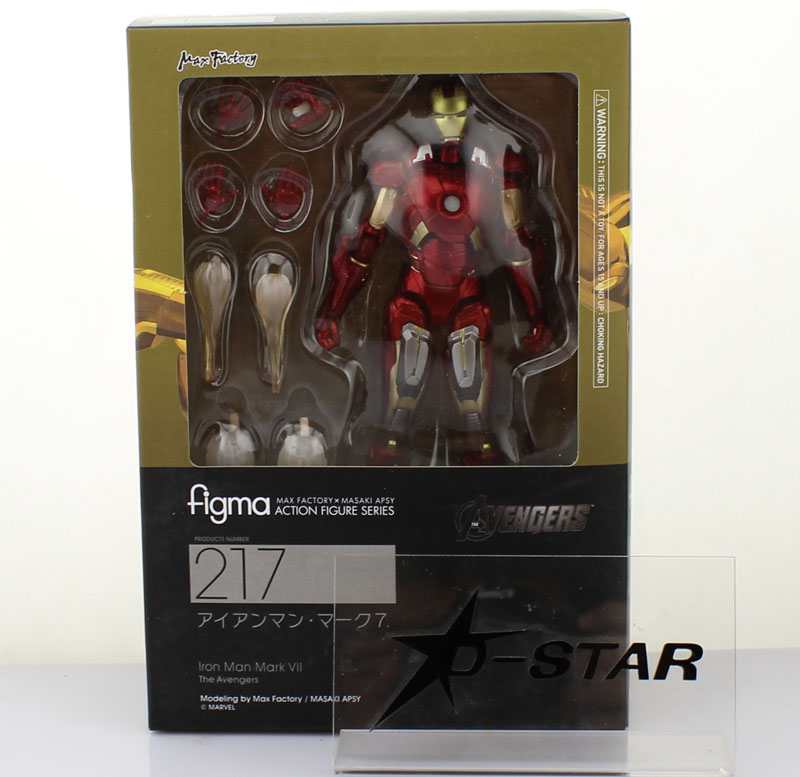 Free Shipping Cool 6 The Avengers Iron Man Mark VII MK42 Red / Golden Boxed 14cm PVC Action Figure Model Toy Gift Figma 217 new arrival super hero iron man mark xxi golden armor action figure neca ironman free shipping hrfg291