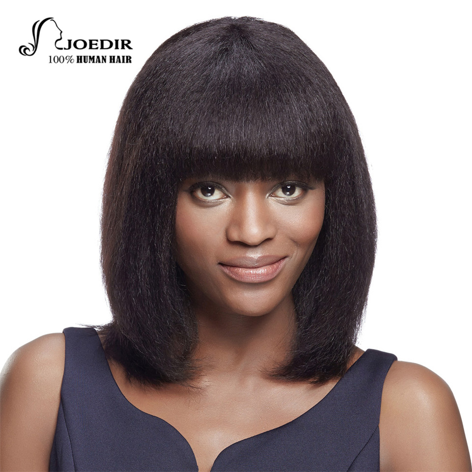 Joedir 14inch Medium Long Yaki Straight Human Hair Wigs For Women Fashion Party Full Bob Wigs With Bangs Cosplay Free Shipping