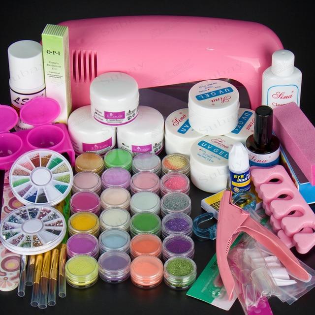 9W UV Pink dryer lamp 18 color Acrylic Powder rhinestones UV GEL Nail Art Kit gel tools Set 303 set