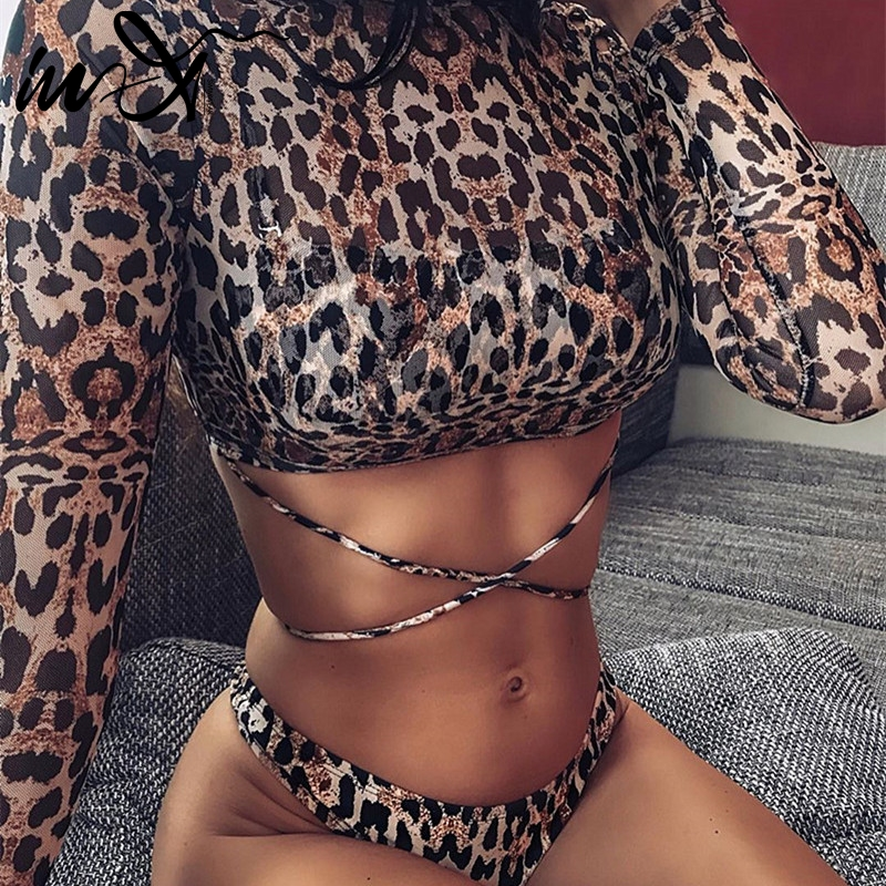 In-X Leopard Swimsuit 3 Pieces Bandage Sexy Bikini  2020 Bandeau Swimwear Women Mesh Crop Top Bathing Suit Women Bathers Biquini