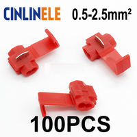 100pcs Lot 801P3 Red Scotch Lock Quick Splice Wire Connector 22 18 AWG Hard Soft 0