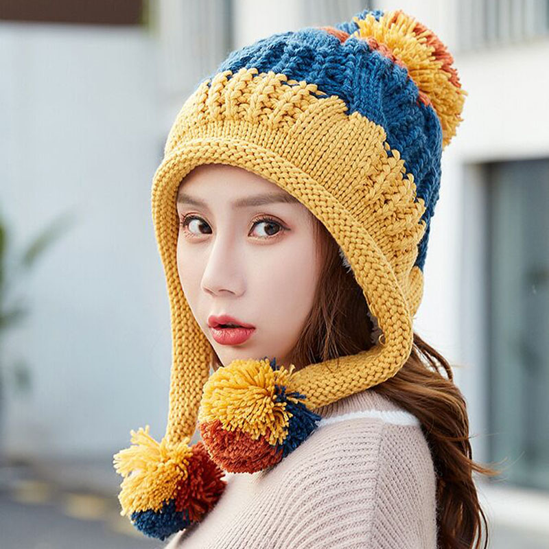 Winter   Beanies   Women Knit Hat 2018 Winter Hats For Women Ladies Girls Caps Balaclava Pompom Bonnet Warm   Skullies     Beanies   Hat