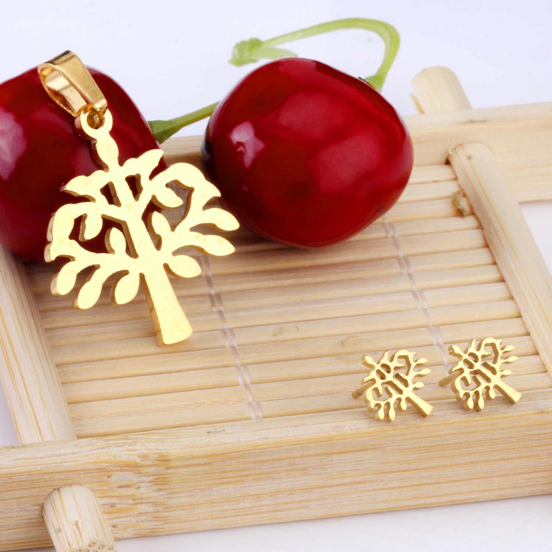 LUXUKISSKIDS גדול עץ תליון שרשרת עגילי תכשיטים להגדיר עבור נשים דובאי אפריקאים חתונת תכשיטי סטים