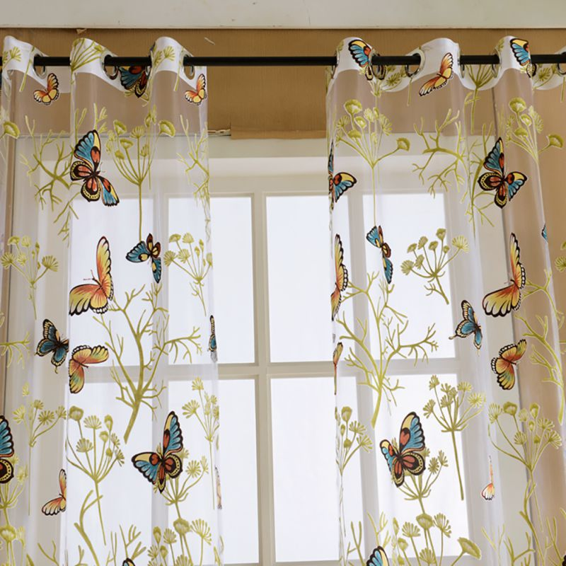 Floral Butterfly Printed Semi Sheer Curtains Living Room