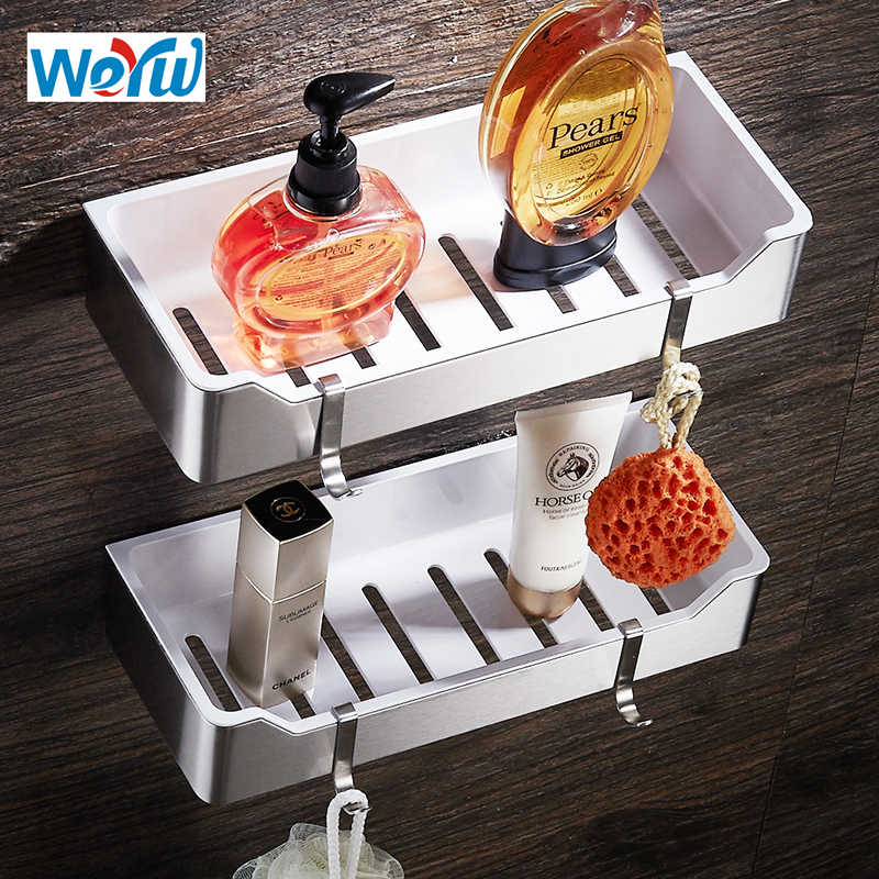 WEYUU Bathroom Shelves Stainless Steel+ABS Plastic Wall Mount Shampoo Soap Cosmetic Storage Organization Wire drawing