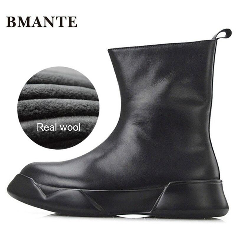 Real leather brand male shoe tall Thick sole tide Platform Harajuku boot with Fur winter fleece wool style ug Australia snow men ugg australia womens classic tall boot
