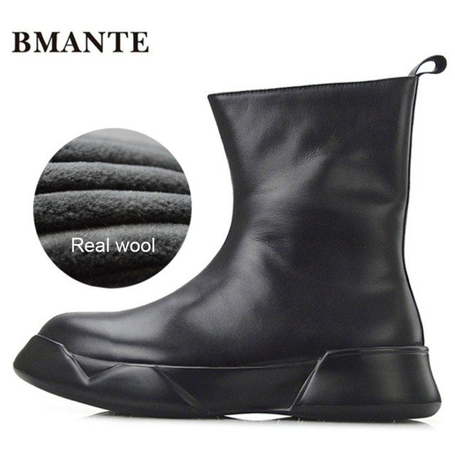 b45a897c6bb US $79.18 15% OFF|Real leather brand male shoe tall Thick sole tide  Platform Harajuku boot with Fur winter fleece wool style Australia snow  men-in ...