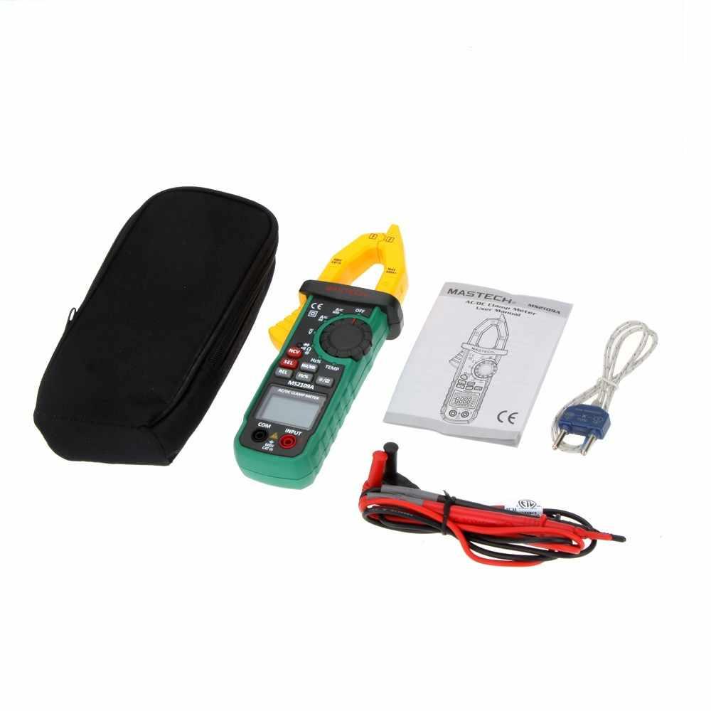 Mastech MS2109A Auto rango Digital AC DC medidor de pinza de corriente multímetro HZ probador de capacitancia de temperatura con Detector NCV