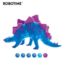 Robotime Creative DIY Polymer Stegosaurus Clay Slime Fluffy Light Soft Plasticine Toy Modelling Clay Playdough Slimes Toys FY03(China)
