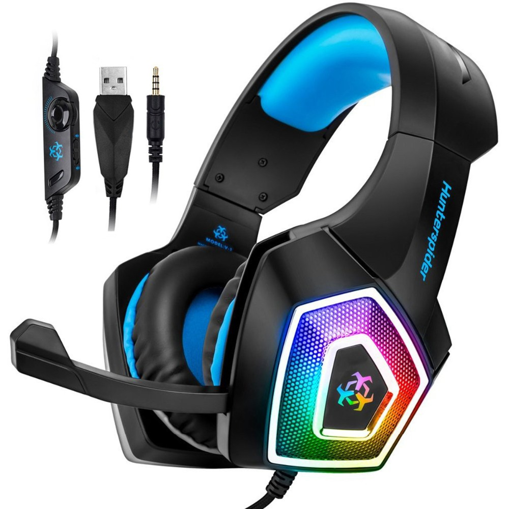 Hunterspider V1 Gaming Headset Computer Over Ear Stereo Heaphone With Noise Canceling Mic 7 LED Light