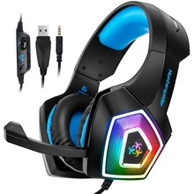 Hunterspider V1 Gaming Headset Computer Over Ear Stereo Heaphone With Noise Canceling Mic 7 LED  Light for Xbox One PS4 PC Phone