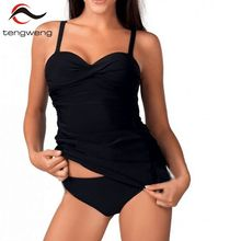 tengweng 2018 Women Two Piece Push up Tankini Swimwear Black Plus size Sport Swimsuit Padded Bathing suit Brazilian Bikini Set