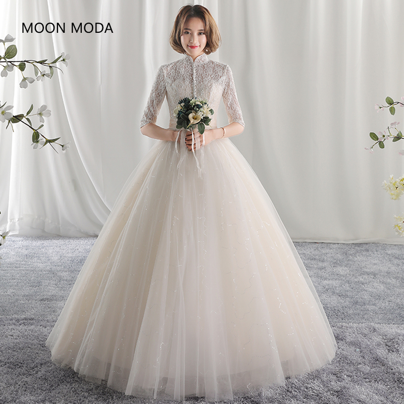 Simple Lace Wedding Dress Cheap Informal Bride Dress Half: Long Half Sleeve Muslim Lace Wedding Dress 2018 Mariage