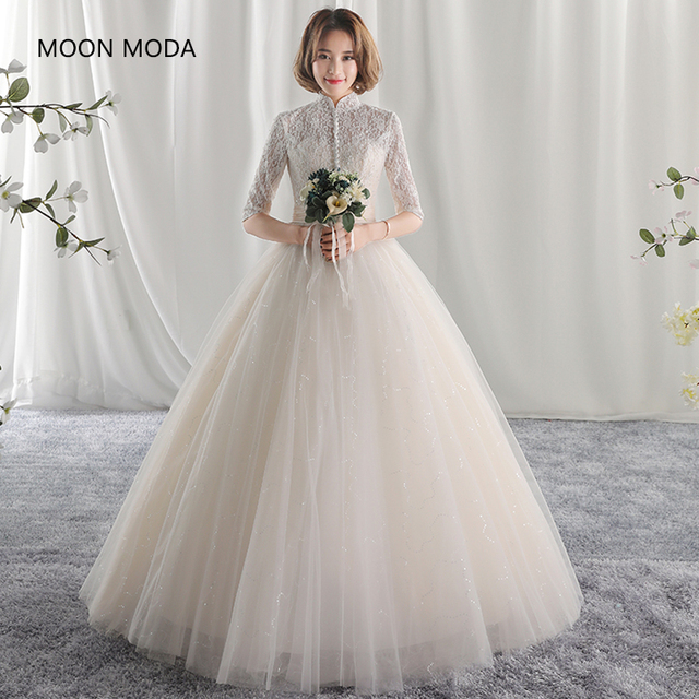 long half sleeve muslim lace wedding dress 2018 mariage bride simple ...