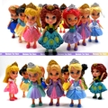 5PCS/lot Random send 8-9CM original catoon anime princess Anna/Elsa/Cinderella/Mermaid/Snow white action figure kid toy for girl