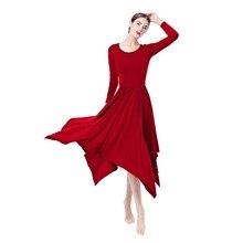 2019 Hot Women Ladies Red Dancing Dress Long Sleeve Pleated Swing Irregular Midi Tango Dancer Costume Adult Praise