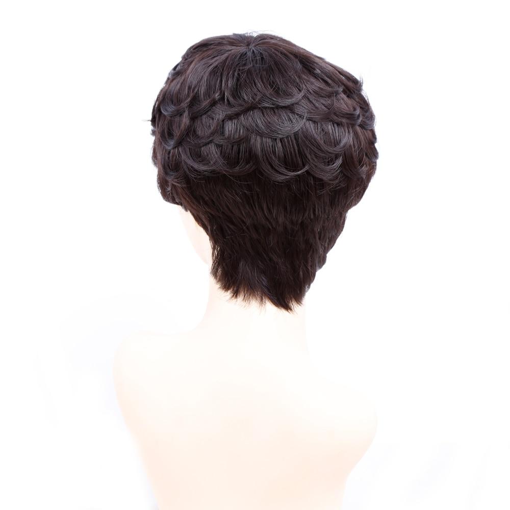 Amir Korta Paryk För Svarta Kvinnor Svart Kort Syntetisk Paryk - Syntetiskt hår - Foto 4