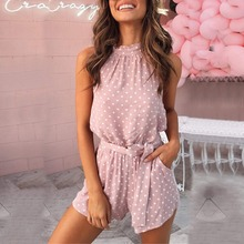 Women Polka Dot Belted Jumpsuit Playsuits Elegant Halter Backless Jumps