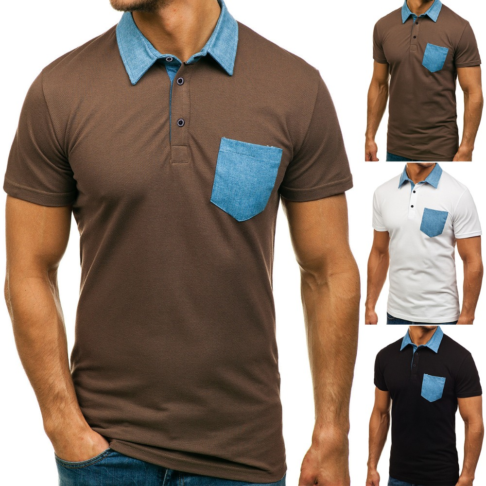 European Size New Summer Mens Short Sleeve POLO Denim Collar Blue Pocket Male Cotton Polo Shirts Loose Casual Polos