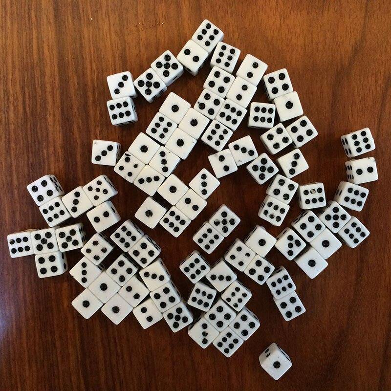 50 шт. Пластик белый 8 мм игровые кости Стандартный шесть Двусторонняя решающий Die дни  ...