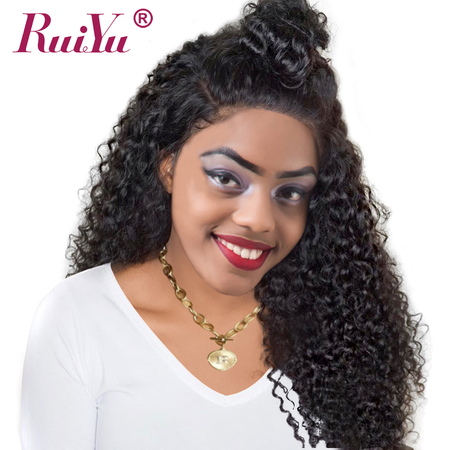 RUIYU Afro Kinky Curly Hair Lace Front Brazilian Human Hair Wigs For Black Women Non Remy Hair Wigs Pre Plucked With Baby Hair