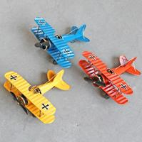 Pure Manual Model Plane Toys Furnishing Articles Wrought Iron Old Handicraft Crosshair Retro Biplane Model Creative