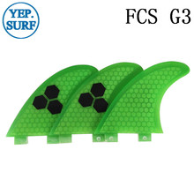 Surf Fins FCS G3 Fin Honeycomb Surfboard Fin Green color surfing fin Quilhas thruster surf accessories new style carbonfiber orange carbon strip fcs ii surfboard fins thruster fin set 3 compatible m7 surf fin