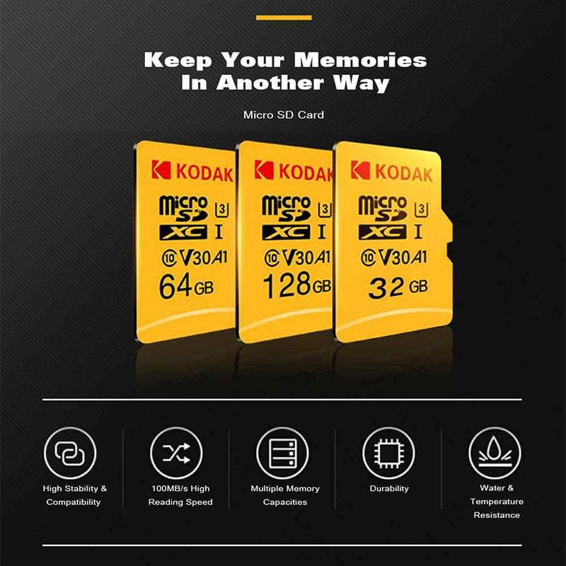 D'origine Kodak 512 GB Micro SD carte classe 10 U3 4 K Haute Vitesse cartao de memoria Flash Carte Mémoire 512 gb mecard C10