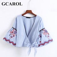 GCAROL Deep V Neck Embroidered Floral Women Blouse Pearls Flare Sleeve High Street Bowknot Kimono Vintage
